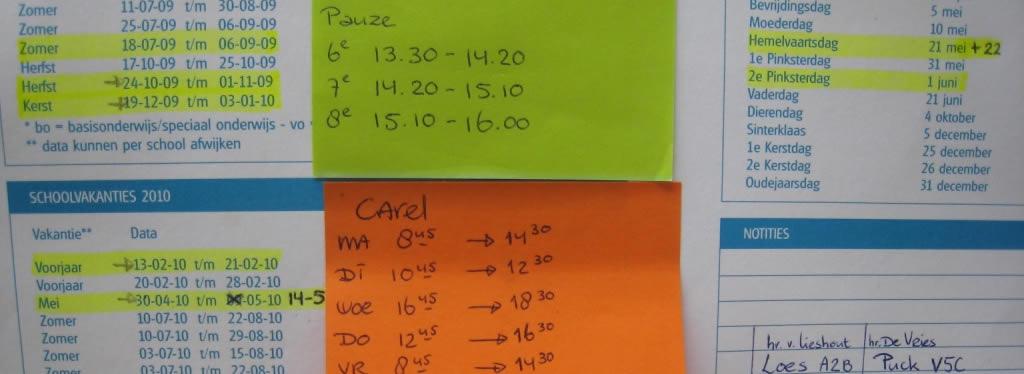 Schoolvakantie, lestijden en proefwerkweken in een overzicht