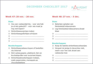 December checklist 2017